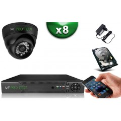 Kit ECO XVR H265+ 8 Dômes HD 720P CMOS 1MP IR 20m