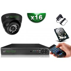 Kit ECO XVR H265+ 16 Dômes HD 720P CMOS 1MP IR 20m