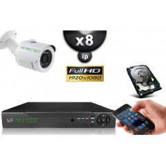 KIT IP 8 Tubes HD 1080P SONY 2.4MP IR 20m
