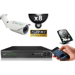 KIT IP 8 Tubes HD 1080P SONY 2.4MP IR 40m Varifocale 2.8-12mm