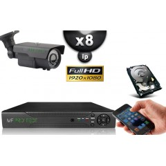 KIT IP 8 Tubes HD 1080P SONY 2.4MP IR 60m Varifocale 2.8-12mm