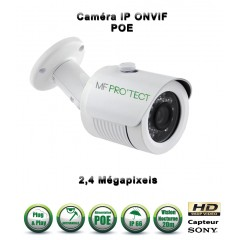 Caméra tube IP de vidéosurveillance 1080P SONY 2.4MP vision nocturne 20m / Blanc