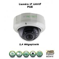 Caméra dôme IP de vidéosurveillance 1080P SONY 2.4MP vision nocturne 25m / Blanc