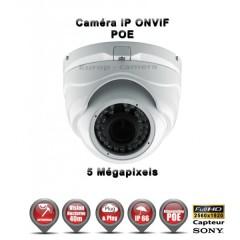 Caméra dôme IP de vidéosurveillance SONY 5MP vision nocturne 30m / Blanc