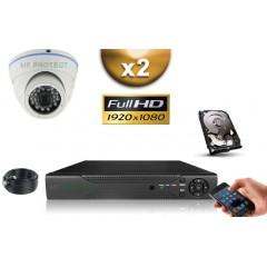 KIT AHD 2 Dômes FULL HD 1080P SONY 2.4MP IR 20m