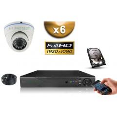 KIT AHD 6 Dômes FULL HD 1080P SONY 2.4MP IR 20m