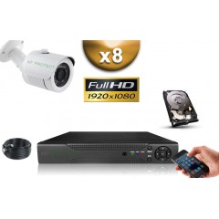 KIT AHD 8 Tubes FULL HD 1080P SONY 2.4MP IR 20m