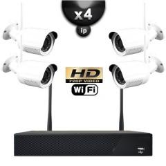Kit vidéo surveillance IP WIFI 4 caméras tubes IR 20m HD 720P