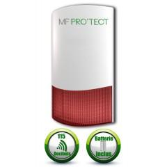 Sirène exterieur ou interieur flash sans fil 868 mhz avec batterie de secours MFprotect