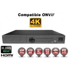 Enregistreur NVR 24 / 32 canaux UHD 4K / 5MP / 3MP / 1080P h265