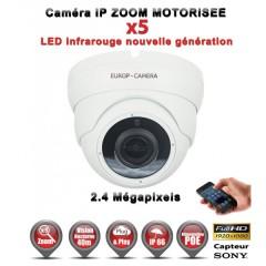 Caméra dôme IP de vidéosurveillance 1080P SONY 2.4MP vision nocturne 30m AUTO ZOOM / Blanc