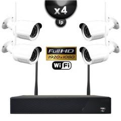 Kit vidéo surveillance IP WIFI 4 caméras tubes IR 20m Capteur SONY FULL HD 1080P