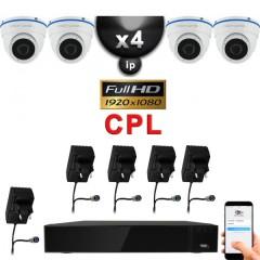 Kit vidéo surveillance IP CPL 4 caméras dômes IR 20m Capteur SONY FULL HD 1080P