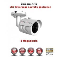 Camera tube AHD / CVI / TVI de vidéosurveillance 5 MegaPixels SONY vision nocturne 20m / Blanc