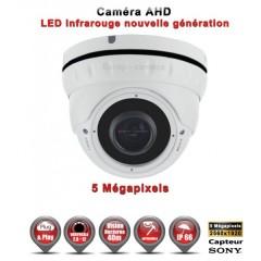 Camera dôme AHD / CVI / TVI de vidéosurveillance 5 MegaPixels SONY vision nocturne 30m / Blanc