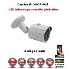Caméra tube IP de vidéosurveillance 5 MegaPixels SONY vision nocturne 30m / Blanc