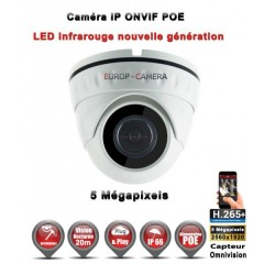 Caméra dôme IP de vidéosurveillance 5 MegaPixels SONY vision nocturne 20m / Blanc