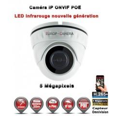 Caméra dôme IP de vidéosurveillance 5 MegaPixels vision nocturne 20m / Blanc