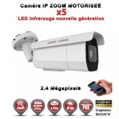Caméra tube IP de vidéosurveillance 1080P SONY 2.4MP vision nocturne 40m AUTO ZOOM / Blanc