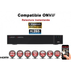 Enregistreur NVR 25 canaux 8 MegaPixels h265+