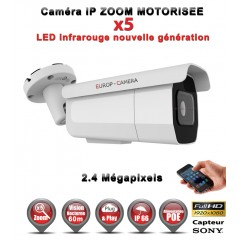 Caméra tube IP de vidéosurveillance 1080P SONY 2.4MP vision nocturne 60m AUTO ZOOM / Blanc