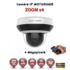 Caméra motorisée PTZ Mini Dôme 355° IP POE 4 MegaPixels ZOOM X4 IR 20M