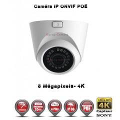 Caméra dôme IP de vidéosurveillance SONY UHD 4K vision nocturne 20m / Blanc
