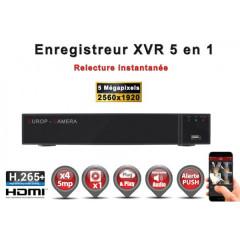 Enregistreur 5 en 1 XVR 4 canaux 5MP h265+