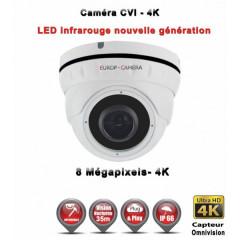 Camera dôme AHD / CVI / TVI de vidéosurveillance 8 MegaPixels UHD 4K vision nocturne 30m / Blanc