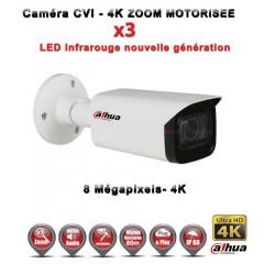 Camera tube AHD / CVI / TVI de vidéosurveillance 8 MegaPixels UHD 4K Auto-Zoom X3 DAHUA vision nocturne 80m / Blanc