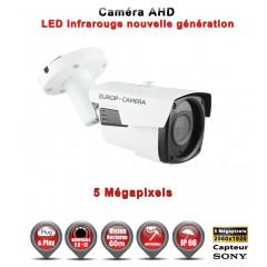 Camera tube AHD / CVI / TVI de vidéosurveillance 5 MegaPixels SONY vision nocturne 60m / Noir