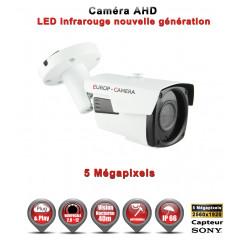 Camera tube AHD / CVI / TVI de vidéosurveillance 5 MegaPixels SONY vision nocturne 40m / Noir