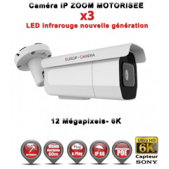 Caméra tube IP de vidéosurveillance Capteur SONY UHD 6K ZOOM Motorisée X3 vision nocturne 60m / Blanc