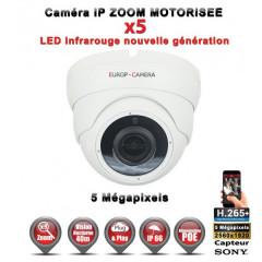 Caméra dôme IP de vidéosurveillance Capteur SONY 5 MP vision nocturne 30m AUTO ZOOM / Blanc