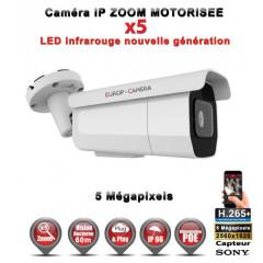 Caméra tube IP de vidéosurveillance Capteur SONY 5 MP vision nocturne 60m AUTO ZOOM / Blanc