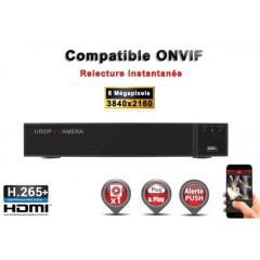 Enregistreur NVR 9 canaux 8 MegaPixels h265+